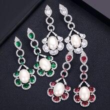 Janeklly модные висячие серьги с цветами для женщин аксессуары Полный кубический цирконий серьги ювелирные изделия pendientes mujer moda