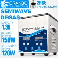 Granbo 1.3L 120W Ultrasonic Cleaner Digital Heater DEGAS SEMIWAVE Ultrasound Jewelry Glasses Nail tools carbon spark plug