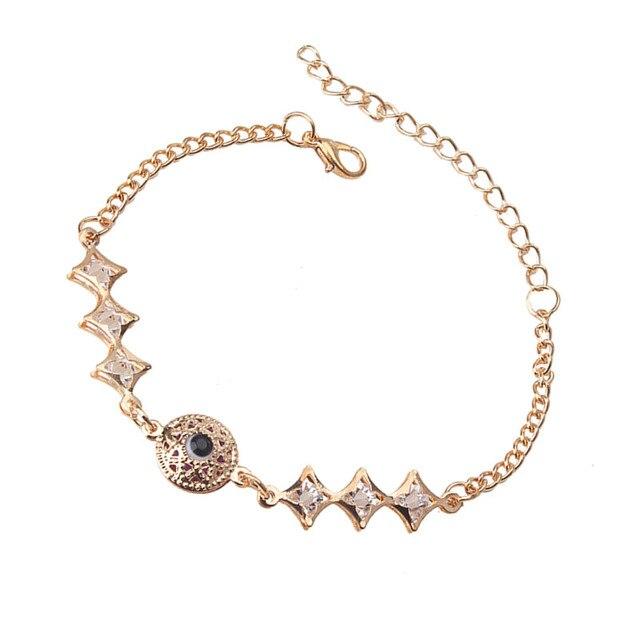 16a4e66e67431 EVIL EYE Chain Color Gold Round Evil Eye Charms Bracelet Crystal Star Shape  Beads Link Chain Bracelets For Women Girl Jewelry