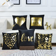 Black Plush Cushion Covers Golden Letter Gilding Pillow 45*45cm Romantic Lovers Pillowcase Sofa Office Decorative Pillows