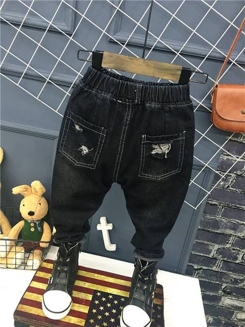Children's clothes 2018 Korean baby girls and boys jeans. Personality matte hole stretch trousers 2-6years (A12035