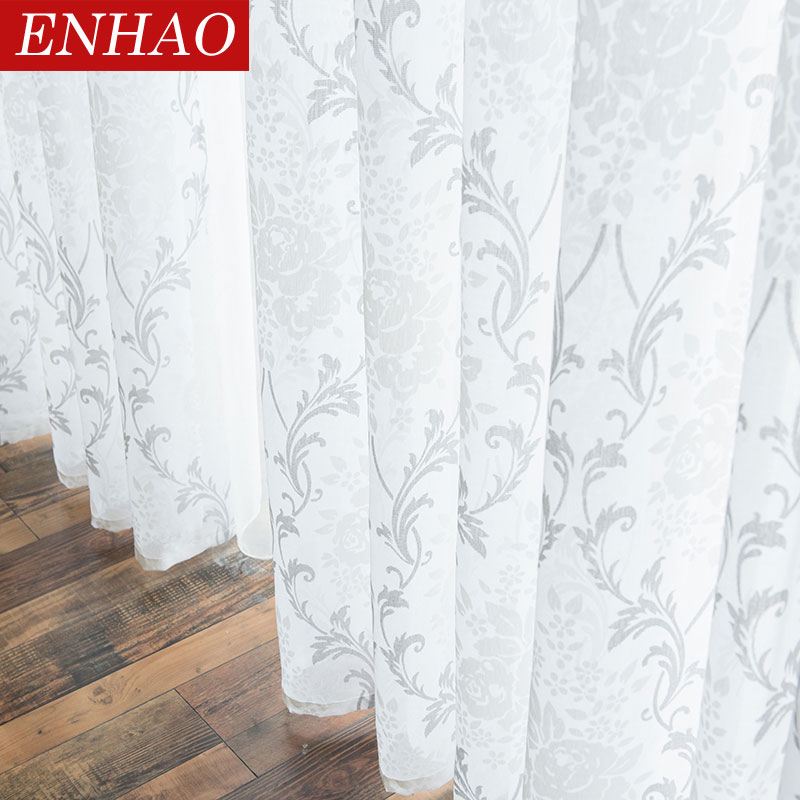 ENHAO Modern Tulle Curtains For Living Room Kitchen Geometric Sheer Curtains For Bedroom Voile Curtains For Window Tulle Door