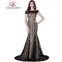 Grace Karin Black Lace Mermaid Prom Dresses Long Formal Evening Prom Wedding Party Gowns Floor Length