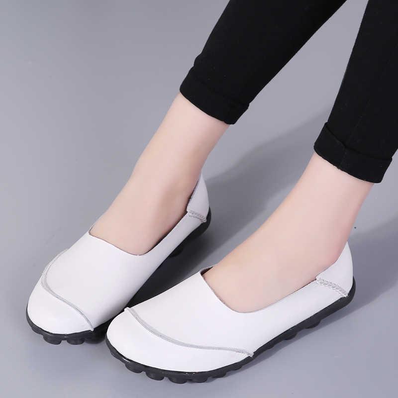 2019 ฤดูใบไม้ผลิใหม่รองเท้าสตรีรองเท้าหนังแท้ Loafers แฟชั่นรองเท้าสบายๆหญิงผู้หญิงบัลเล่ต์สุภาพสตรีรองเท้าแฟลตรองเท้า