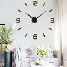 2018 New High Quality 3D Acrylic + EVA Wall Stickers Creative Fashion Living Room Clocks Large Clock DIY Home Decoration