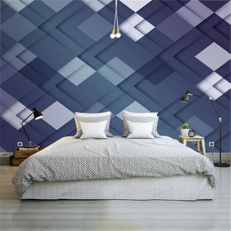 Nordic Style 3D Wallpapers Rolls Ink Blue Wall Papers Home Decor Geometric Seamless Non-Woven Wallpapers for Living Room modern embossed 3d wallpapers rolls luxury striped wallpapers non woven desktop wall papers home decor bedroom walls coverings