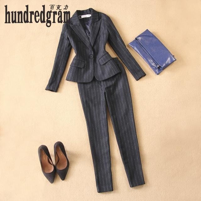 Inglaterra mulheres novo outono e inverno de lã azul escuro tarja terno calças Slim pés 9 calças suit-dod154