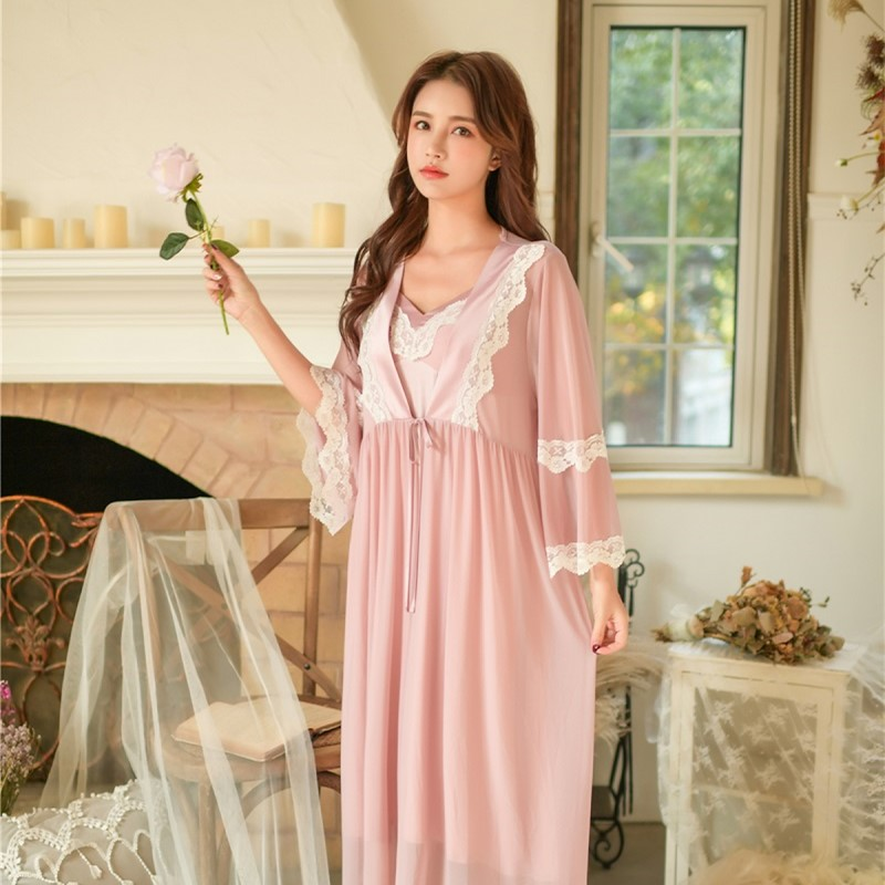 Spring Autumn Vintage Princess Modal 2 Pieces Sleepwear Long Nightgowns Elegant Long Sleeve Female Robe Sets Sexy Night Dress