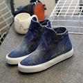 Free Shipping New High-Top Canvas Shoes Woman Zipper Hole Denim Increased Women'S Casual Canvas Shoes Student Shoes