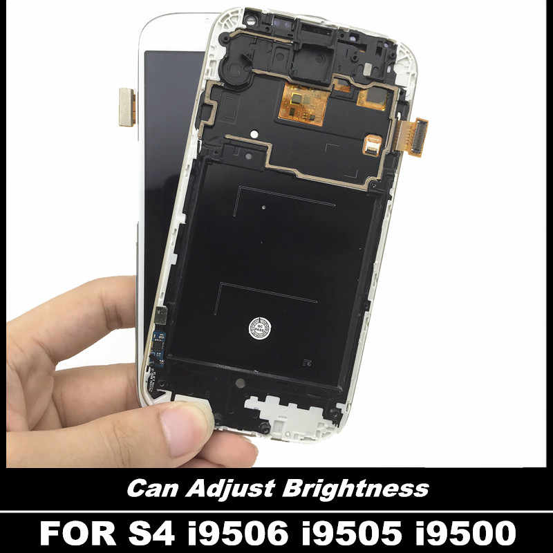 لسامسونج غالاكسي S4 i9506 i9505 i9500 مع الإطار عرض مجموعة المحولات الرقمية لشاشة تعمل بلمس اختبار شاشة LCD عالية الجودة استبدال