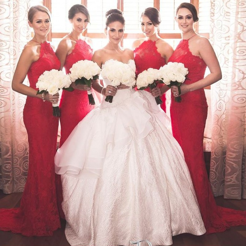Sexy Hot Red Halter Lace Bridesmaid Gown Blue Peach Ivory Champagne Silver  Coral Hot Satin Lace Bridesmaid Dresses Free Shipping 880f507fb129