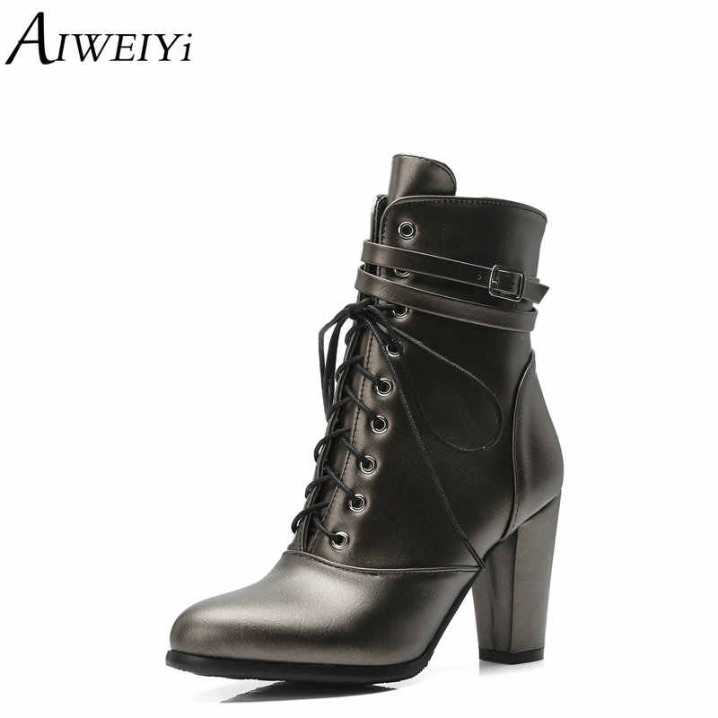 5a4ba33820 AIWEIYi Martin Boots for Women Soft PU Leather Round toe Square Heel High  Heels Shoes Woman