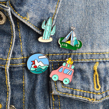 4pcs/set Travel series Pins Enamel Bus Duck Mountain Cactus potted Tent Brooch set Bag Jacket Pin Button Icon Badge Jewelry Gift(China)
