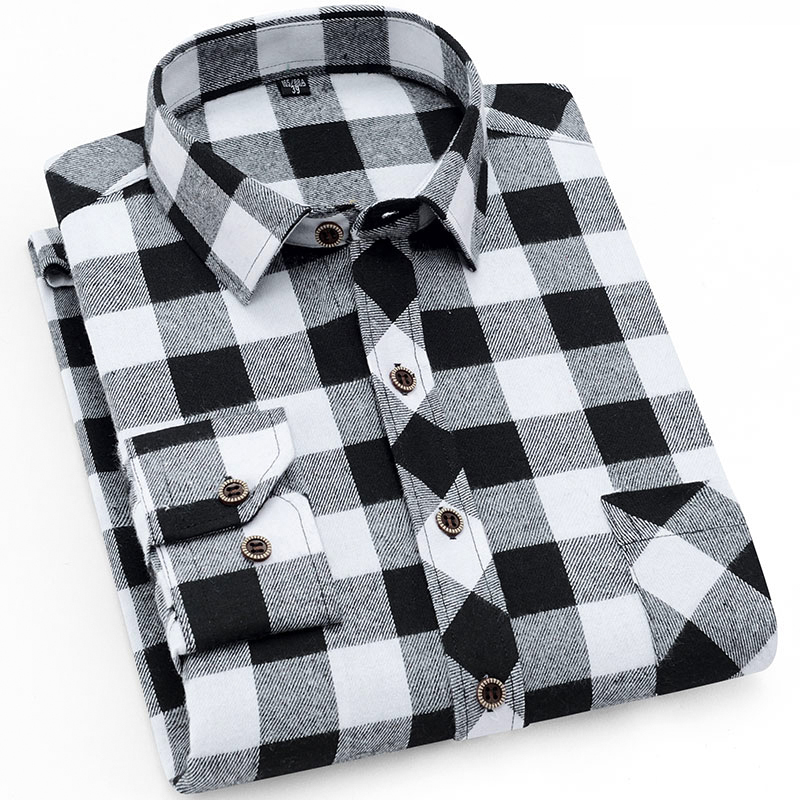 Men's Stylish Long Sleeve Plaid Checked Brushed Dress Shirt With Chest Pocket Standard-fit Comfortable Casual Flannel Shirts
