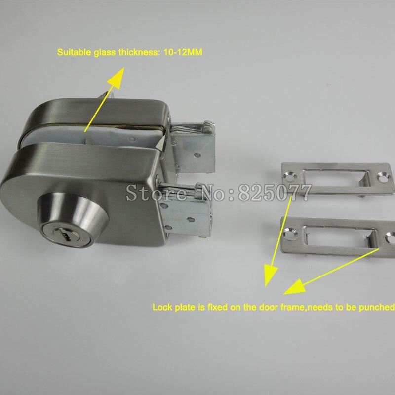 Frameless Glass Door Lock Single Door Double Unlock Stainless Steel Office Door Lock with 3PCS Keys KF1077 in Locks from Home Improvement