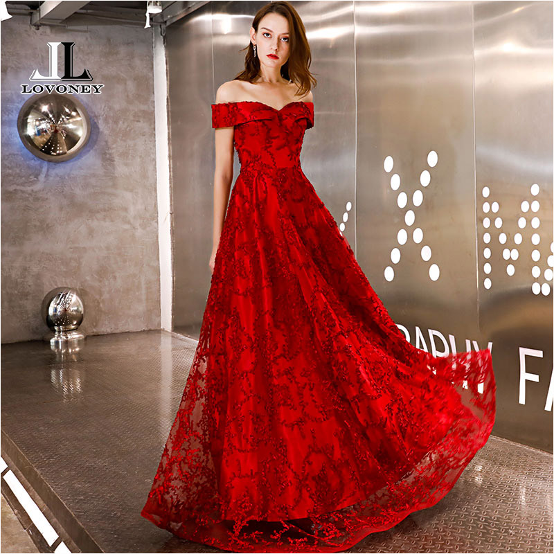 LOVONEY Evening Dress 2019 New Style A Line Boat Neck Long Formal Dress Evening Party Dresses Lace-Up Back Evening Gown YS454