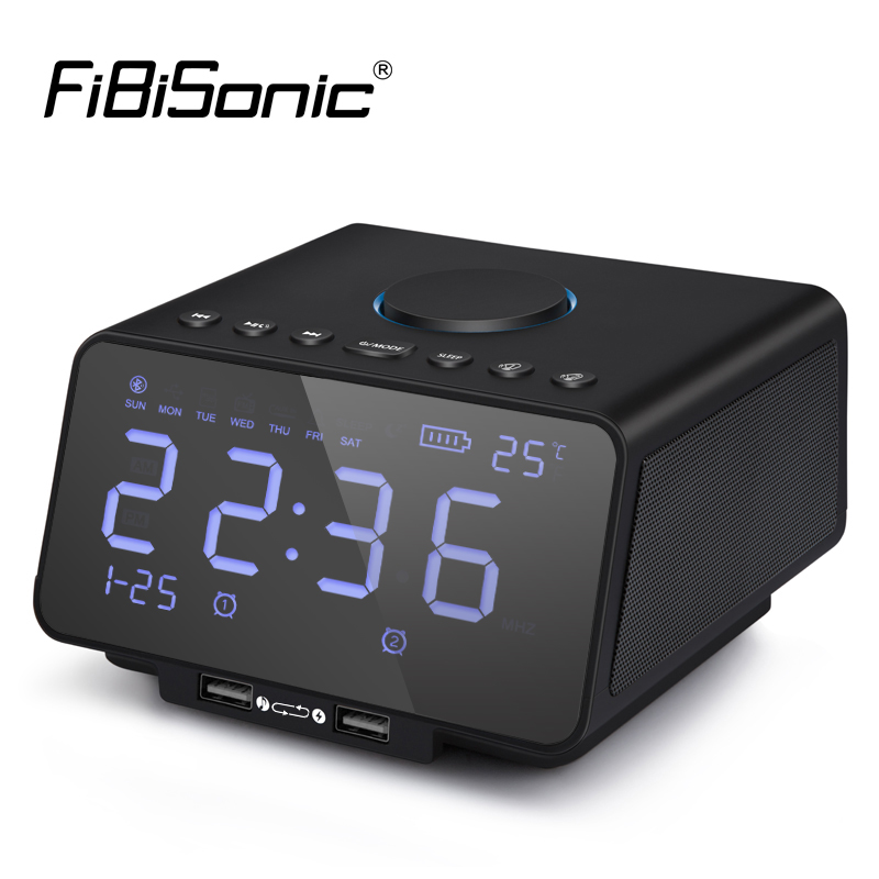 LED Digital Alarm Clock with FM Radio Wireless Bluetooth Player USB Fast Charge Port TF Card