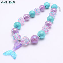 MHS.SUN Chunky beads necklace cute mermaid tail pendants girls kids bubblegum necklace fashion party dress up 3 style(China)