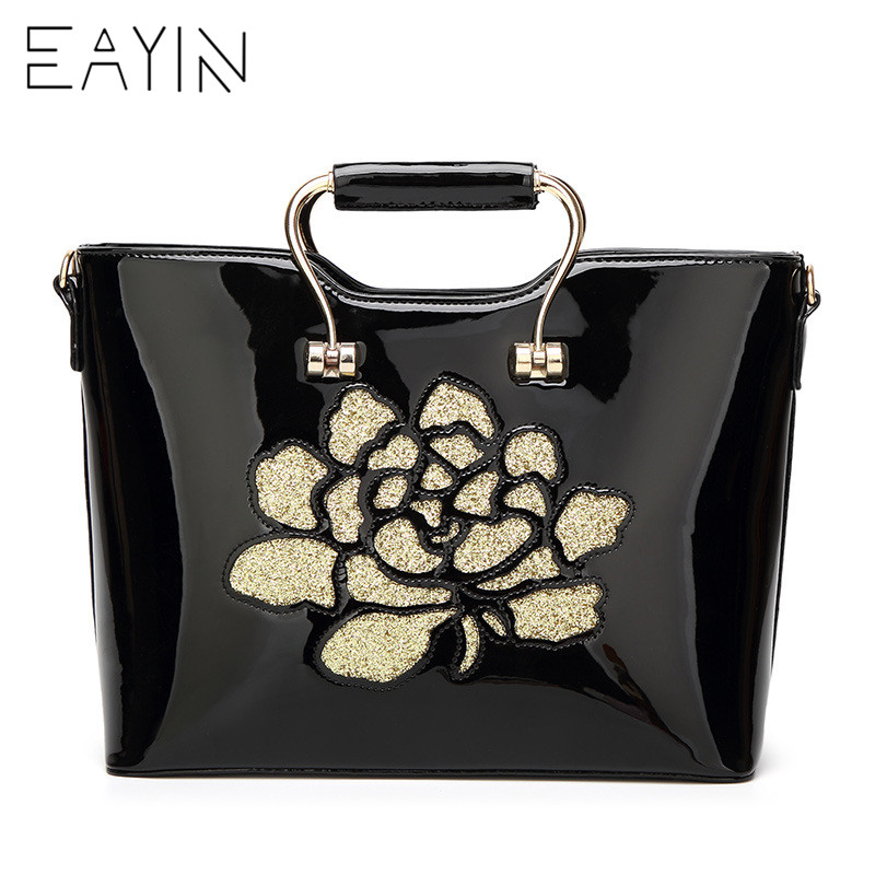 EAYIN Black Patent Leather Tote Bag Handbags Women Famous Brands Lady s  Lacquered Bag Red Flower Handbag for Women Shoulder Bag -in Shoulder Bags  from ... 69a72421276c