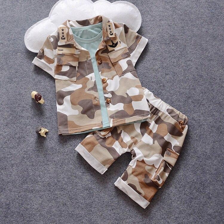 Male children s clothing child short sleeve shorts triangle set child camouflage 2016 baby set