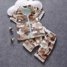Mâle enfants vêtements enfant à manches courtes shorts de triangle ensemble enfant camouflage 2016 bébé ensemble