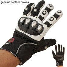Pro-biker de cuero genuino guantes de moto moto de enduro moto protector engranajes motocross guantes guante azul rojo blanco m, l, xl