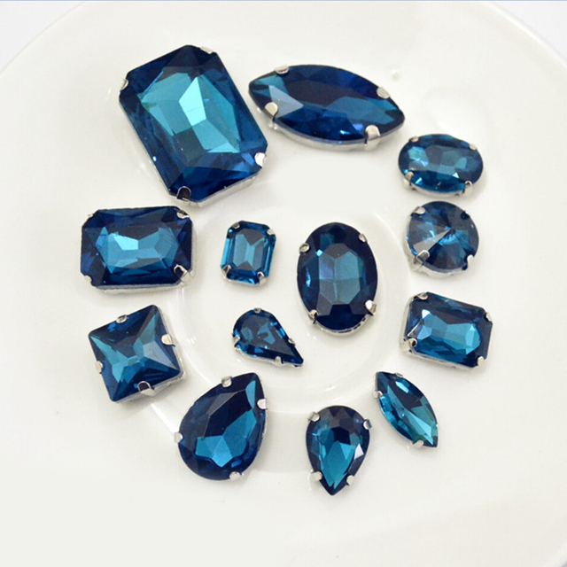 8x13mm 10x14mm 13x18mm Blue Zircon Same Colors Different Shape Evening Dress Decorations Sewing On Claw Rhinestones