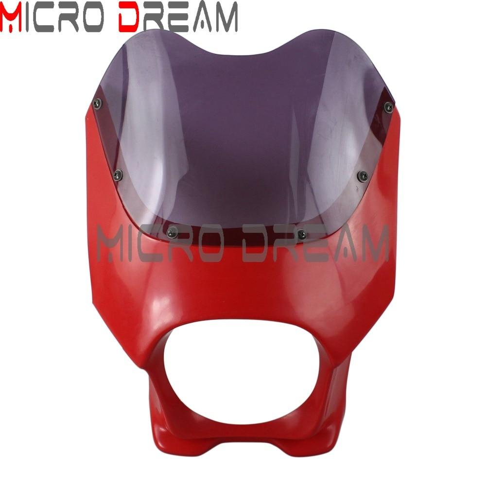 Cafe Racer Motorcycle Red Headlight Fairing Smoke Wind Deflector For Harley Chopper Drag Racing Bike Headlamp Mask Protection