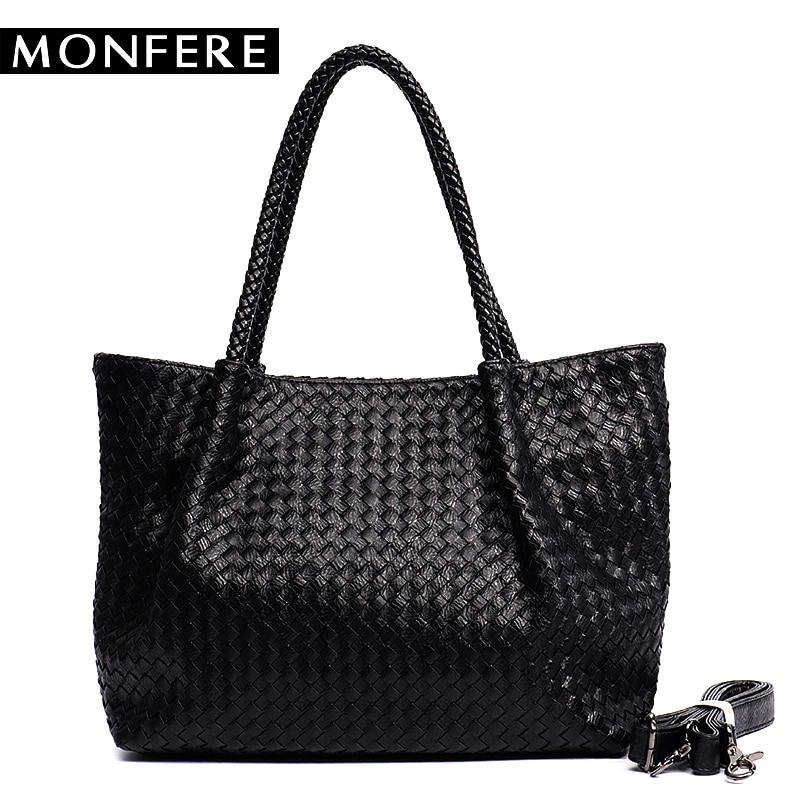 цены на MONFERE Women PU Leather Casual Handbags Handmade Woven Tote Bag Female Vintage Shoulder Bag Retro Large Capacity Messenger Bags в интернет-магазинах