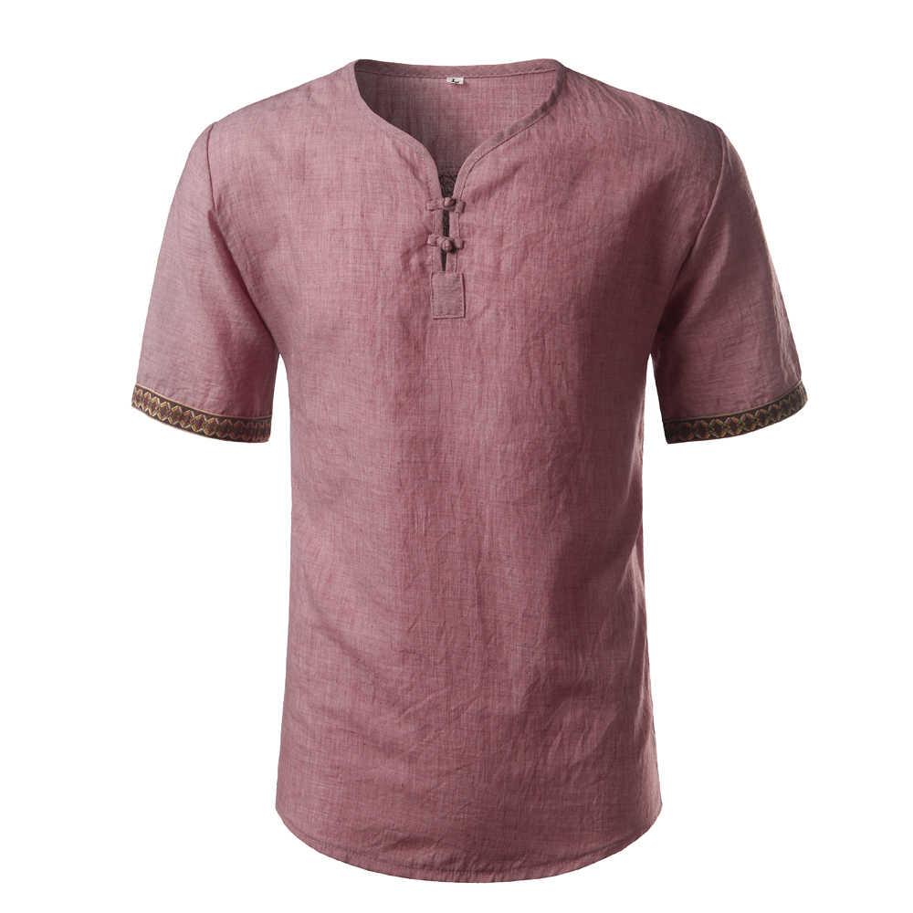 コットンリネンシャツ男性 2017 ブランド半袖メンズヘンリーシャツカジュアルスリムフィットチェック柄メンズドレスシャツ 3 ボタンシュミーズオム