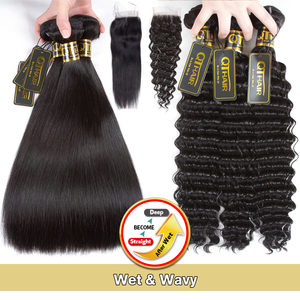 Image 4 - QT 髪ウェットと波状バンドル閉鎖でバンドル閉鎖ブラジル人毛織りで 3 バンドル閉鎖