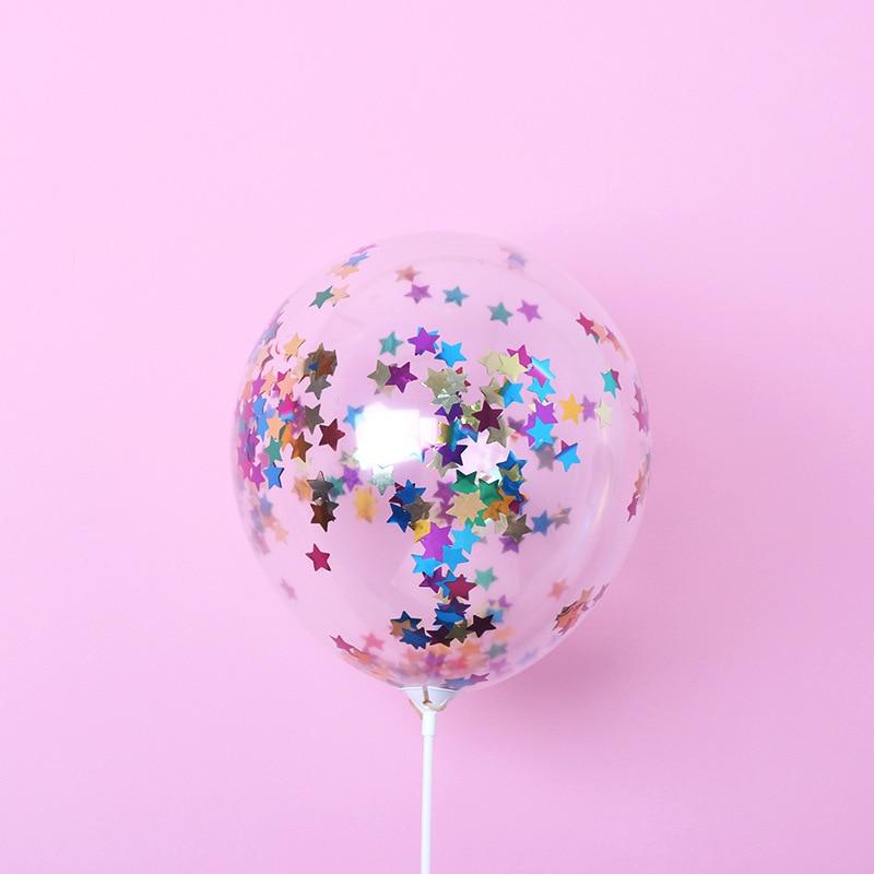 5 шт./лот, 12 дюймов, цветные конфетти, прозрачные воздушные шары с блестками, для детей, для дня рождения, мультяшная шляпа, для свадебной вечеринки, Декор, игрушки - Цвет: 5pcs star