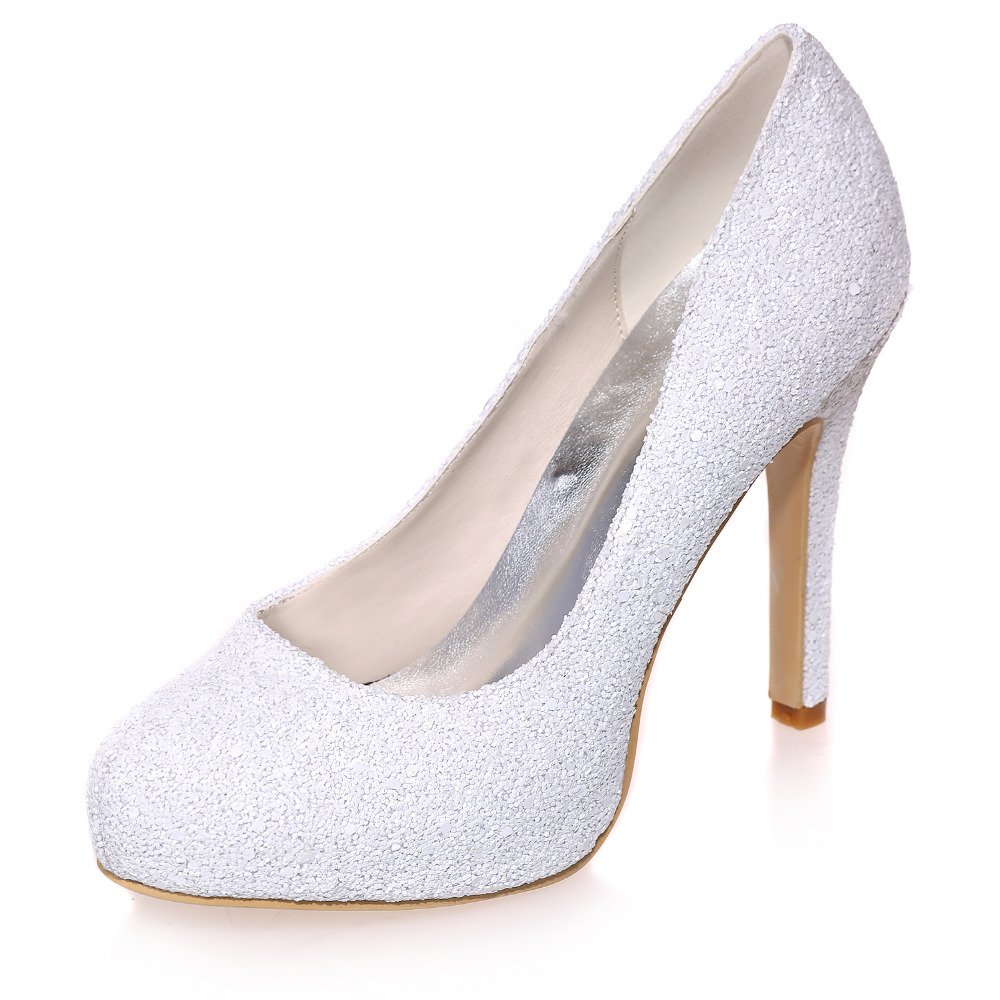 ФОТО Elegant woman rounded toe platform high heels 3D glitter white pumps concise simple nubuck party prom evening dress shoes high