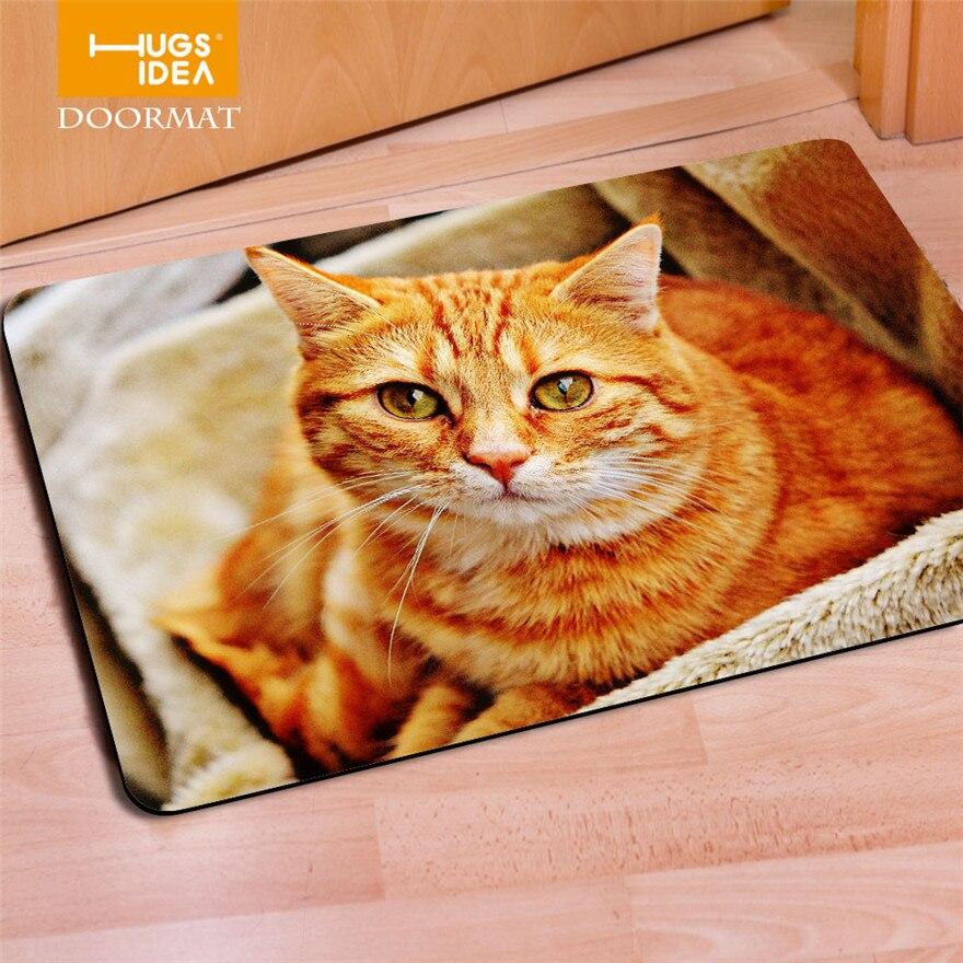 Hugsidea 3d Cute Animal Cat Design Floor Carpets Welcome Entrance