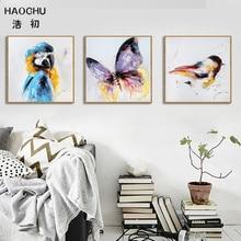 HAOCHU Watercolor Butterfly Bird Poster Art Print Minimalism Canvas Painting Animal Nursery Wall Picture Modern Home Decor