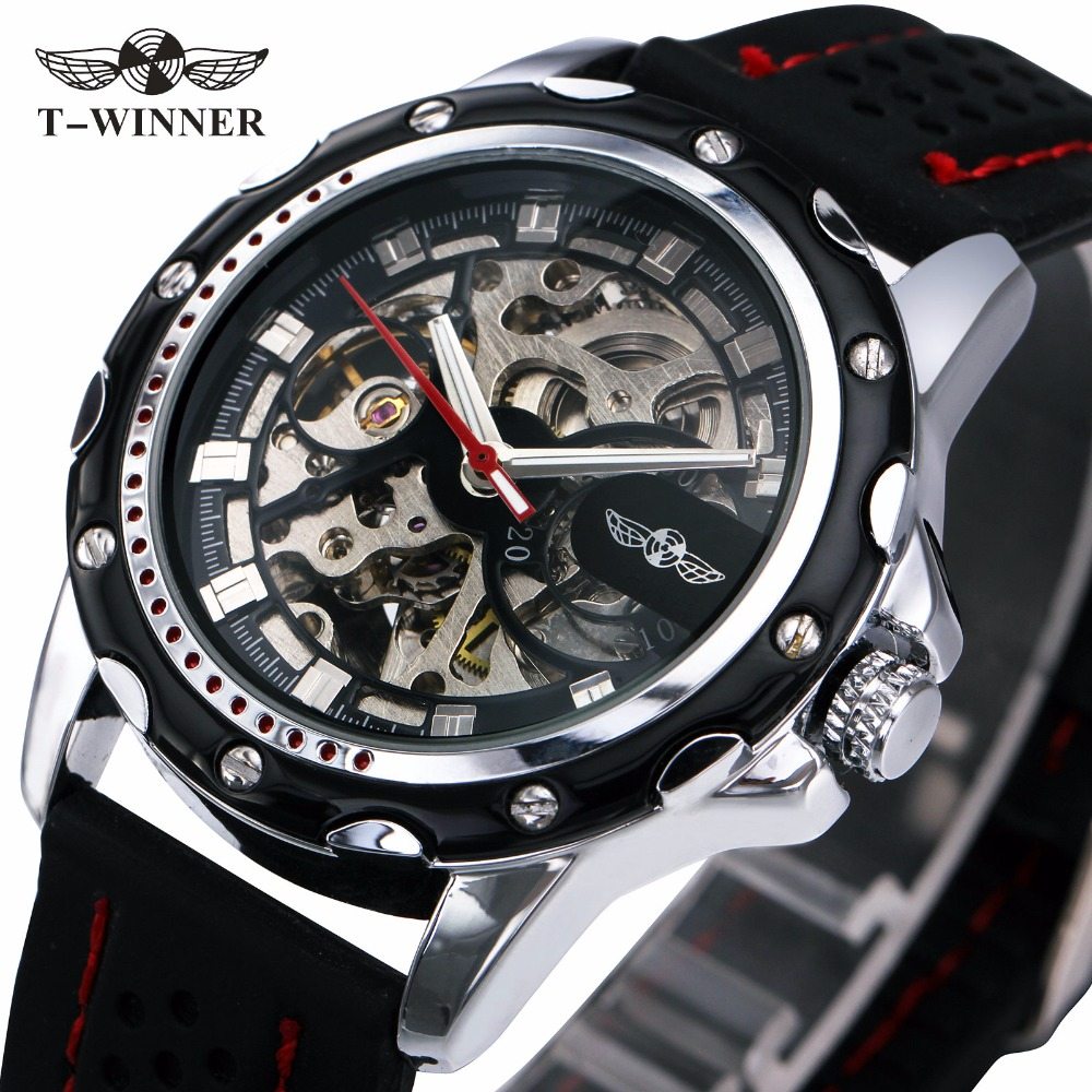 WINNER Military Mens Skeleton Watches Rubber Strap Meale Automatic Wrist Watches Imported Mechanical Movement Luminous Hands