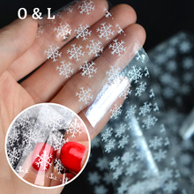 1pcs New Beautiful White Snowflake Nail Transfer Foil Sticker Paper DIY Beauty Nail Decoration Craft Tools