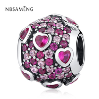 Authentic 925 Sterling Silver Bead Pink Cyrstal Heart Valentine's Day DIY Charm Fit Original Pandora Bracelets Charms Jewelry