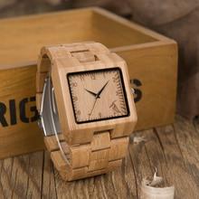 BOBO BIRD Rectangle Quartz-watch Bamboo Waterproof Wristwatch Japan Movement Bra