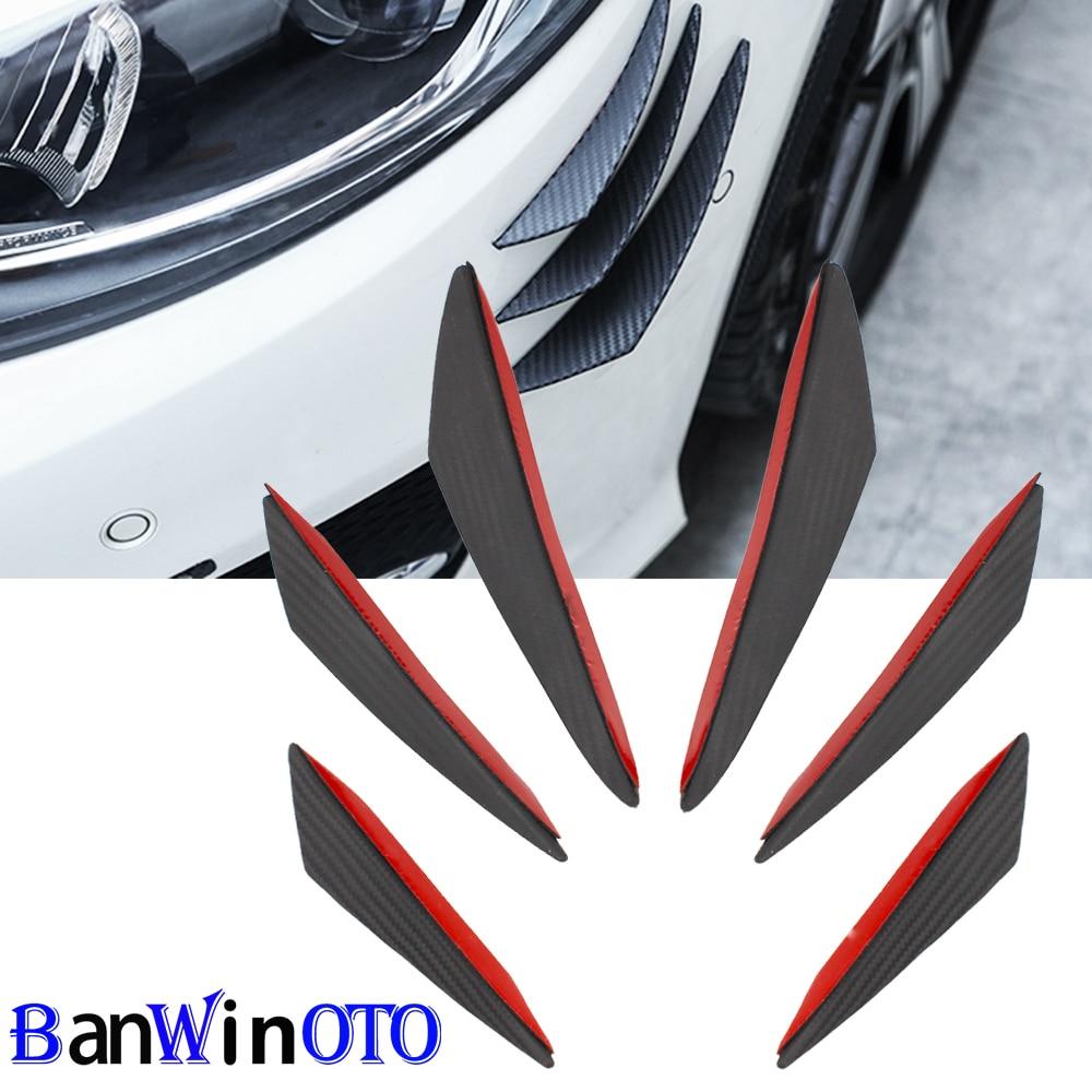 6pcs/set Universal Fit Front Bumper Lip Diffuser Splitter Fins Body Spoiler Canards Valence Chin Car Tuning Canard FD003