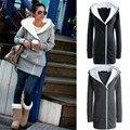 Zanzea otoño invierno zip up mujeres hoodies 2017 algodón fleece cálido chaquetas de la capa larga más tamaño outwear fresco