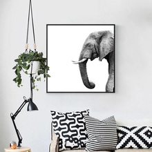 ФОТО HD Print Nordic Style Simple Home Decor Canvas Painting Black And White Elephant Poster Study Room Living Room Wall Art Picture