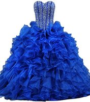 Royal Blue Ruffles Dazzling Long Quinceanera Dress Ball Gown Red Prom Dresses Sweet 16 Dresses Vestidos 15 Anos