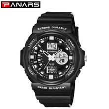 PANARS Watch Men Luxury 50M Waterproof Military Dual Time Sports Watches PU Strap Luminous Alarm Clock Wristwatch Mens 2019(China)