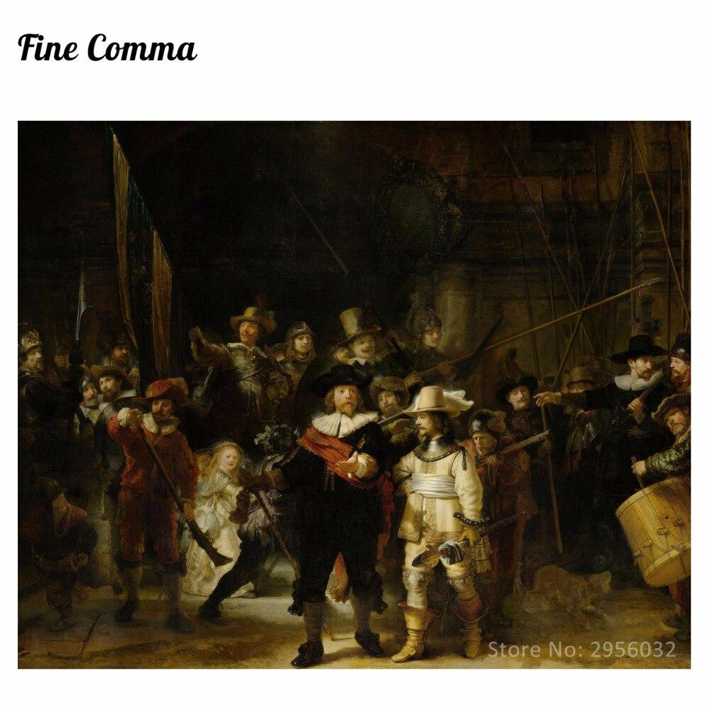 Ночной дозор 1642 by Рембрандт Ван Рейн ручная роспись маслом Воспроизведение реплики Копировать стены Книги по искусству холст картины Спаль