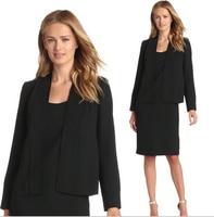 2016 الربيع أزياء المرأة الأسود السترة اللباس الدعاوى سيدات الأعمال سليم صالح كم طويل اثنان قطعة اللباس الرسمي بدلة