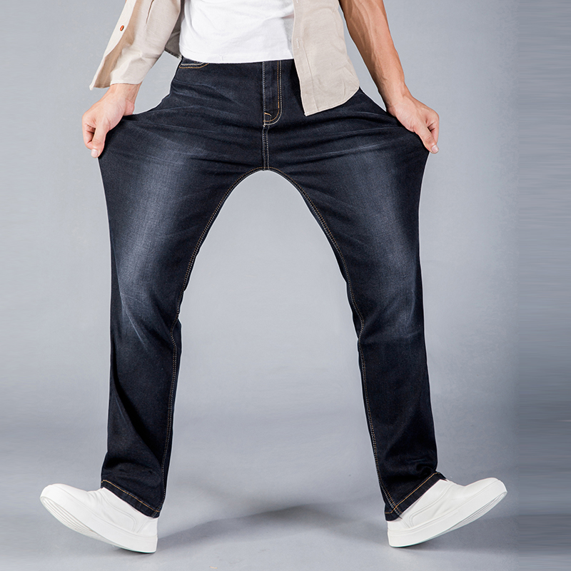 2018 Mens Loose fit Denim Jeans Mens Slim Straight Jeans Waist Young People Straight jeans High stretch Plus size 42