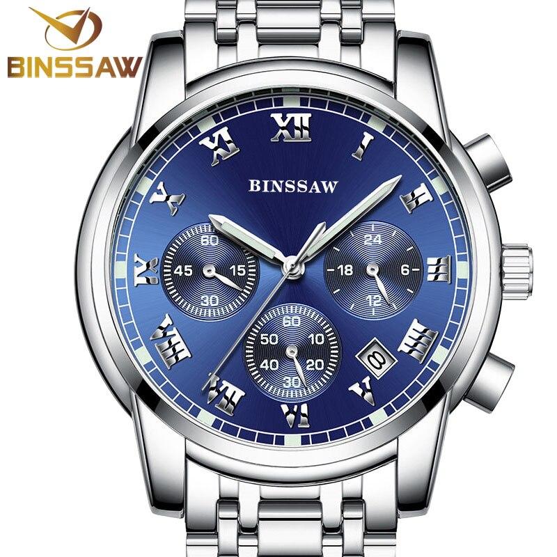 BINSSAW men quartz stainless steel fashion business watch luminous calendar timing watch the new 2016 of
