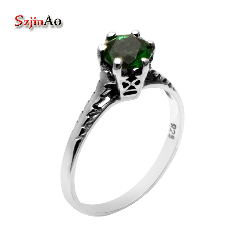 Szjinao Fashion 925 Sterling Silver Jewelry Victoria Antique Jewelry Classical Green Stone rystal Wedding Rings for