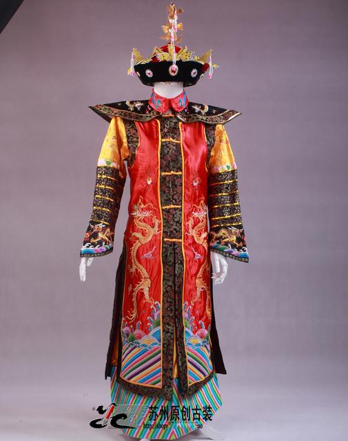 China dinastía Qing emperador y la reina ropa Manchu fénix traje traje del dragón traje de la etapa retrato de estudio fotografía temática